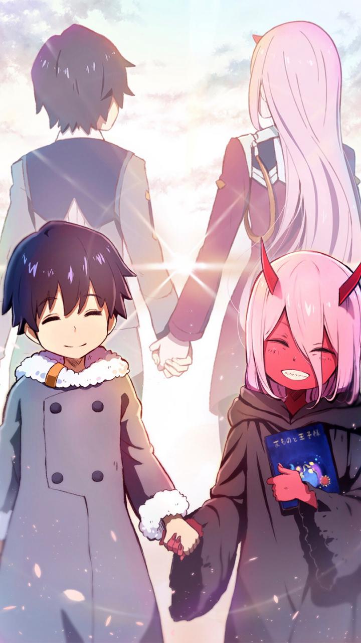 Download 720x1280 Wallpaper Hiro And Zero Two Anime Friends