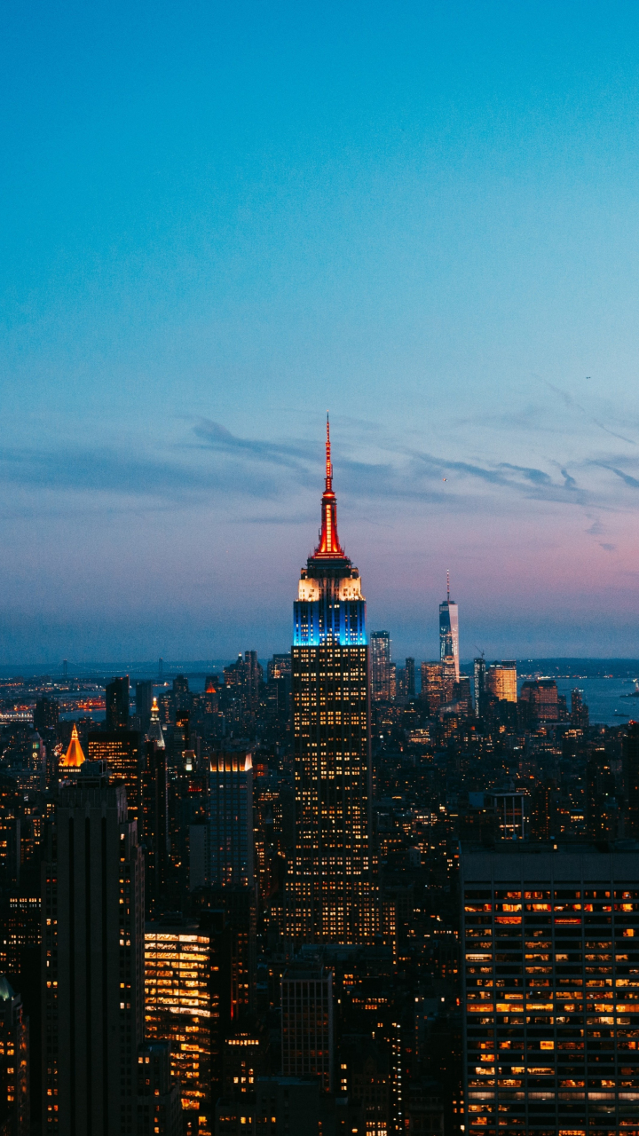 New york, skyscrapers, night, city, buildings, empire state building, 720x1280 wallpaper