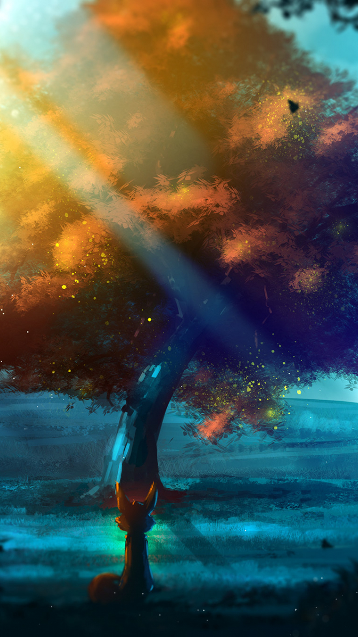 Download 720x1280 Wallpaper Tree, Nature, Fantasy, Fox