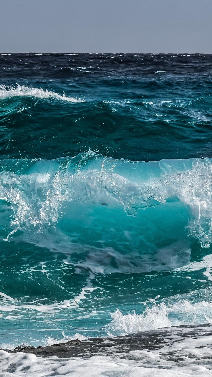 Download 720x1280 wallpaper blue, sea wave, shore, water ...