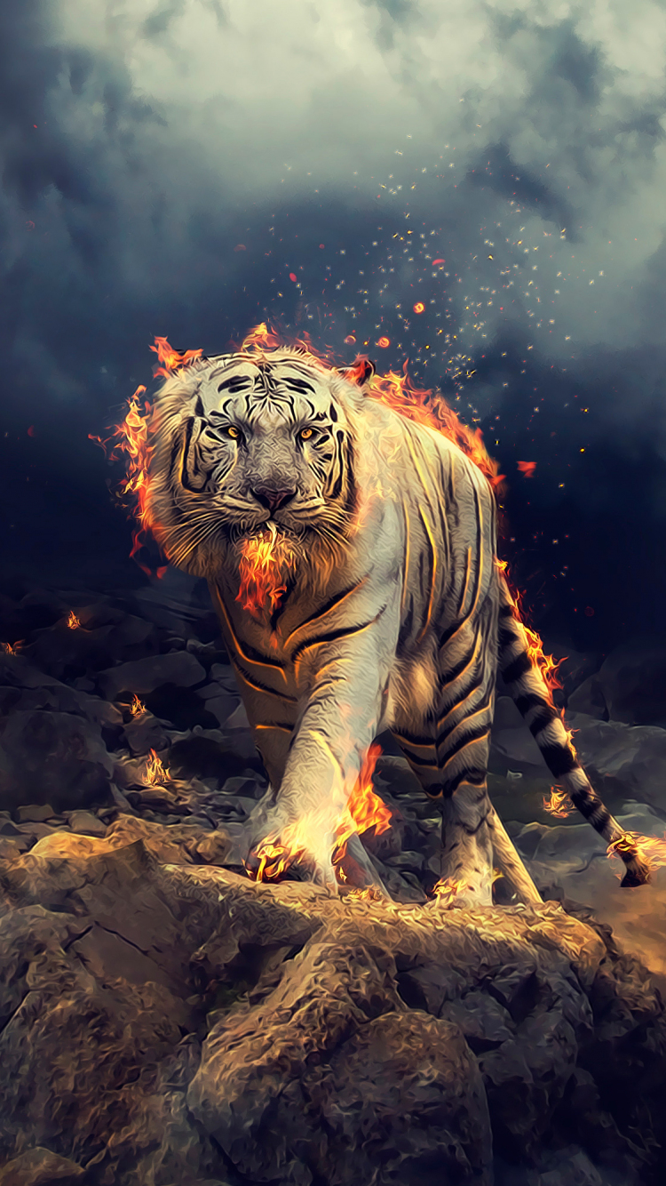 Download 750x1334 Wallpaper Angry Raging White Tiger