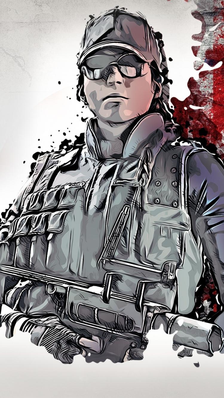 Download 750x1334 Wallpaper Rainbow Six Siege Glitch Art