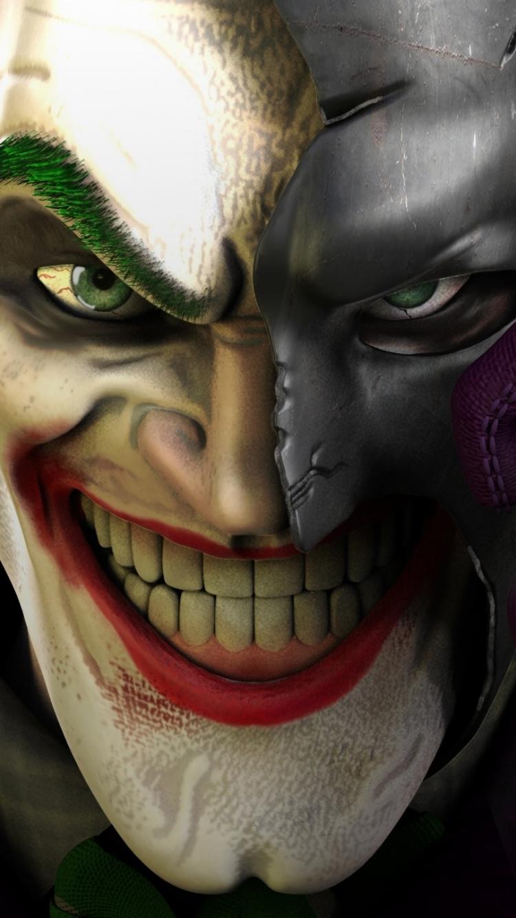 Download 750x1334 Wallpaper Joker Face Off Batman S Mask