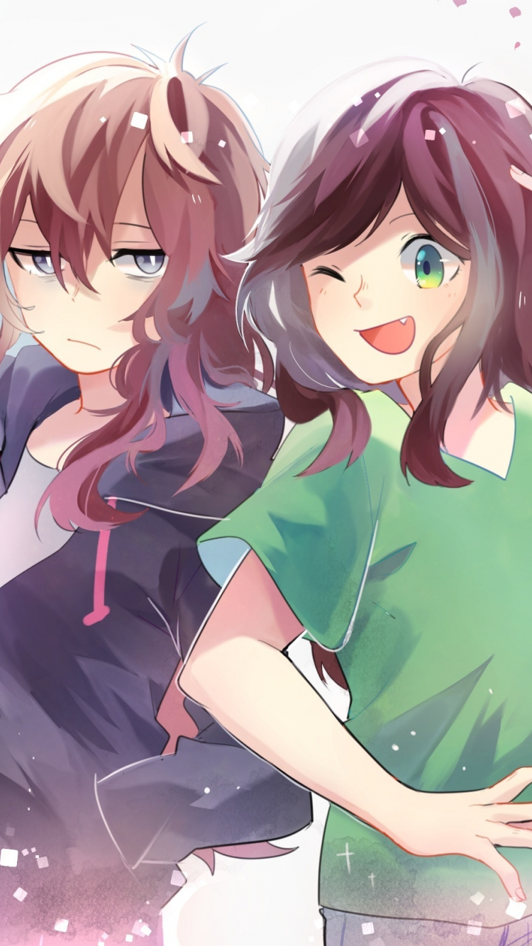 Download 750x1334 Wallpaper Two Crazy Girls Fun Anime Iphone 7 Iphone 8 750x1334 Hd Image Background 399
