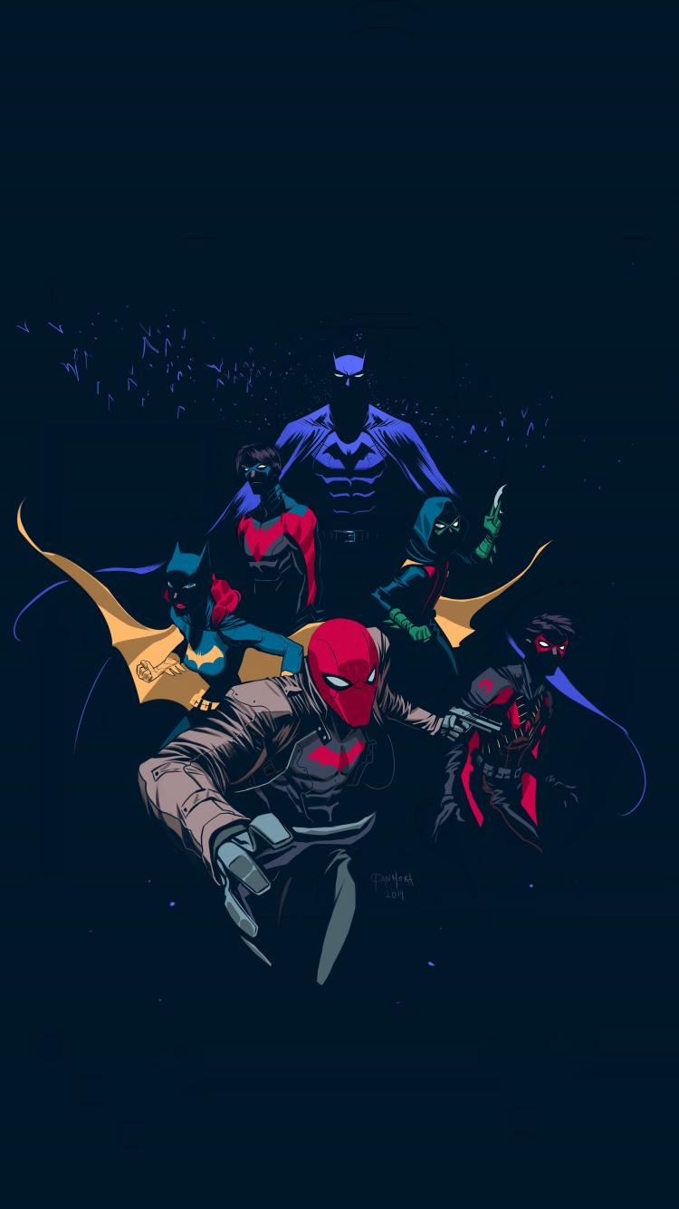 Download 750x1334 Wallpaper Batfamily Robin Red Hood