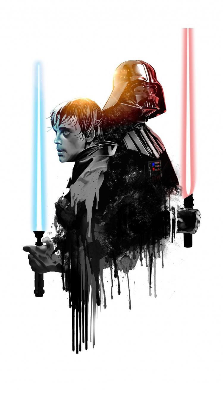 Download 750x1334 Wallpaper Darth Vader Luke Skywalker