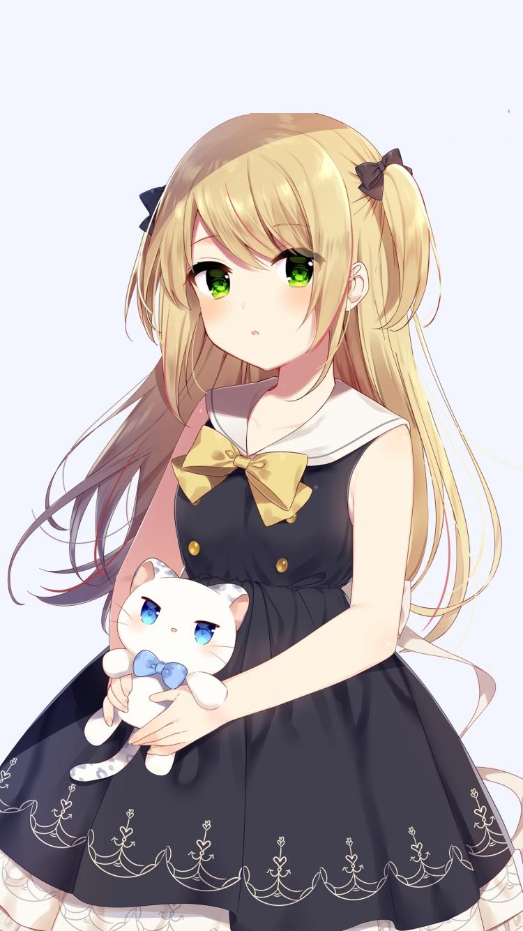 Cute anime girl and her kitten original 750x1334 wallpaper