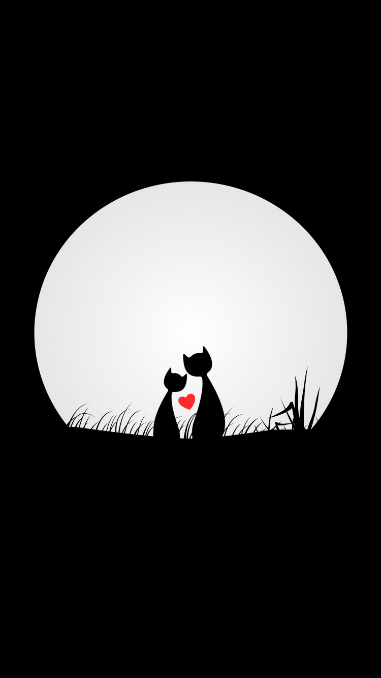 Download 750x1334 Wallpaper Couple Cats Love Silhouettes