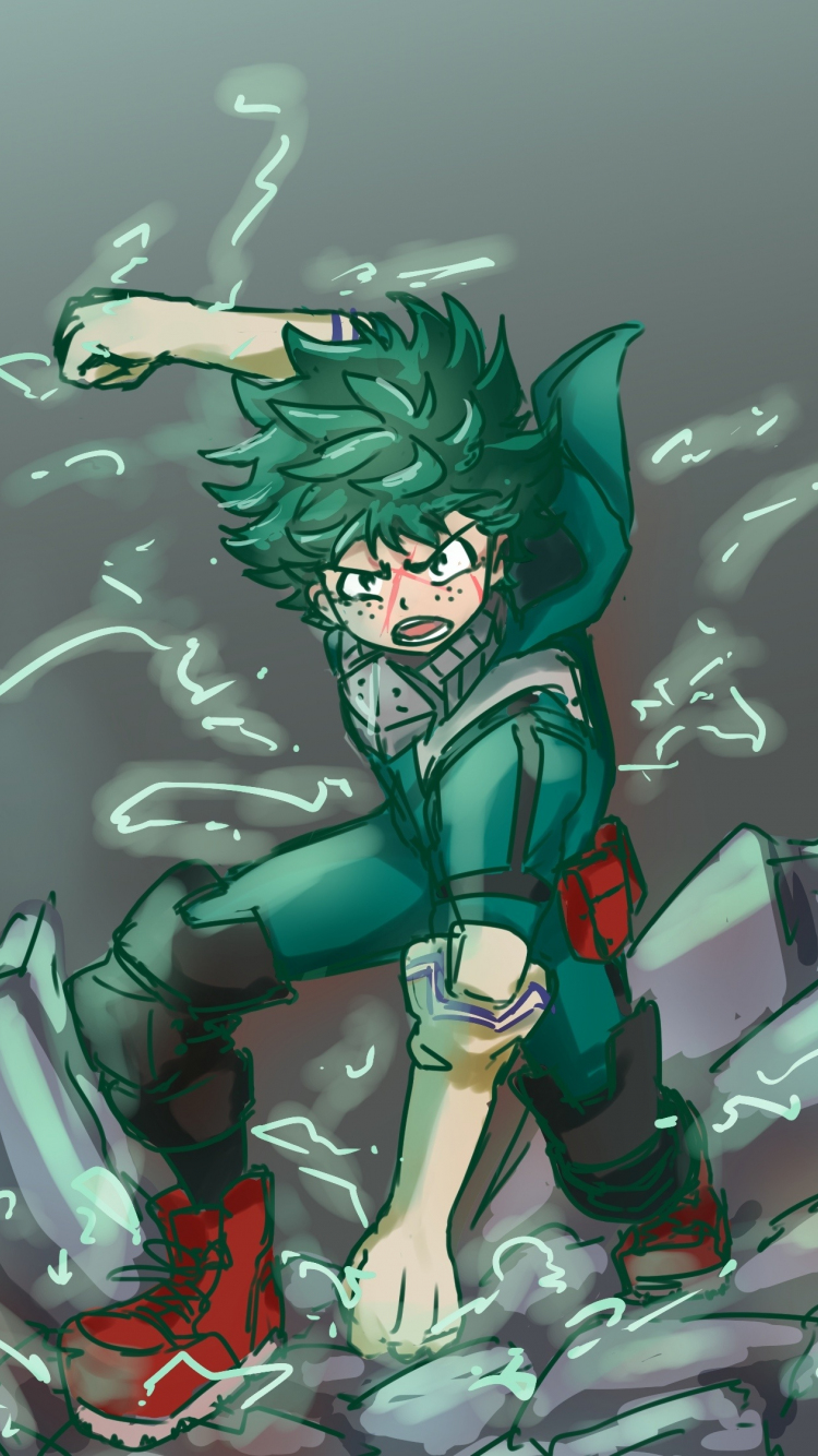 Download 750x1334 Wallpaper Angry Green Hair Anime Boy