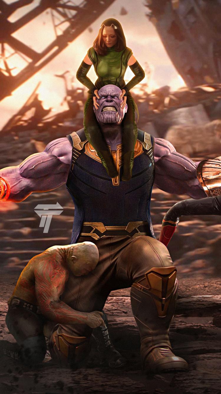 Thanos Vs Avengers Movie Artwork X Wallpaper