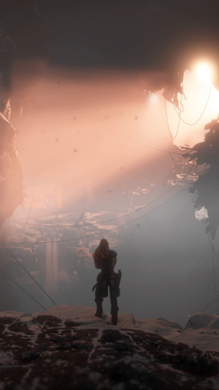 Download 750x1334 Wallpaper Game Dark Landscape Horizon Zero