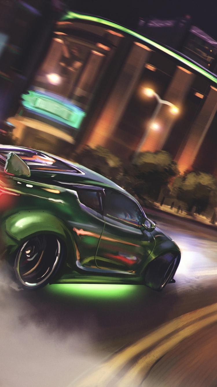 Download 750x1334 Wallpaper Drift Green Sports Car Iphone 7