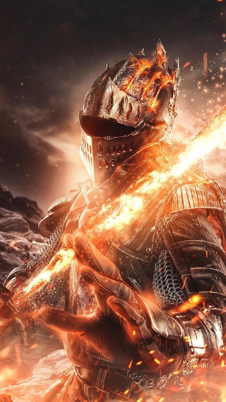 Download 750x1334 Wallpaper Fire And Sword Dark Souls