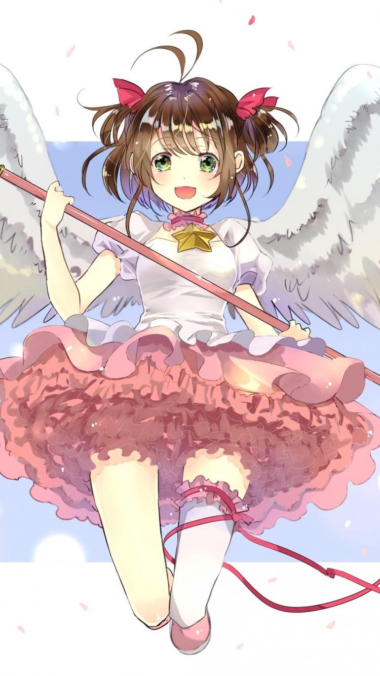Download 750x1334 Wallpaper White Wings Stick Anime Girl Cute Sakura Kinomoto Iphone 7 Iphone 8 750x1334 Hd Image Background 3990