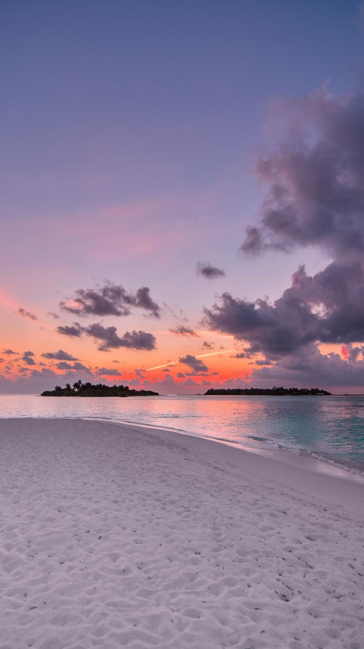 Download 750x1334 Wallpaper Beach Island Sunset Clouds