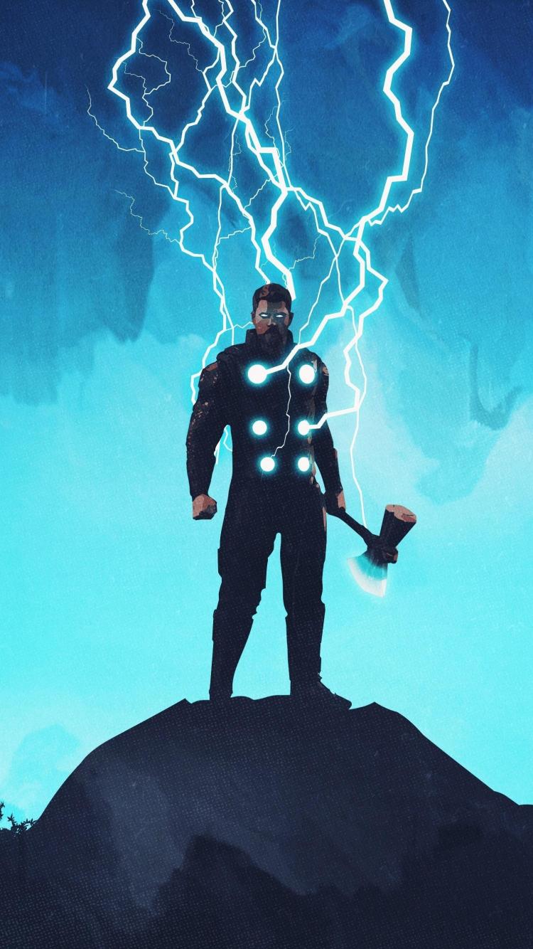 Download 750x1334 Wallpaper Thor Artwork Lightning God Iphone 7