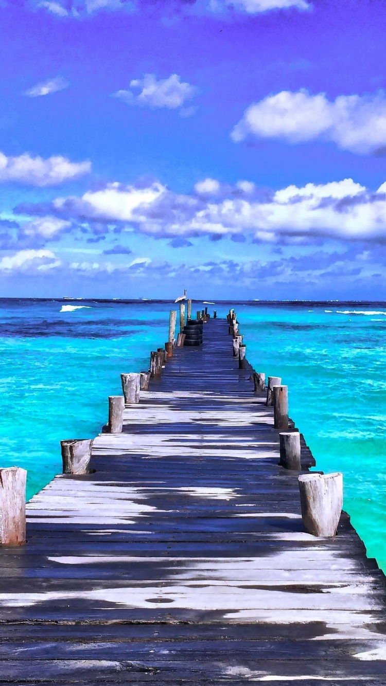 Download 750x1334 Wallpaper Pier Sunny Day Beach Iphone 7