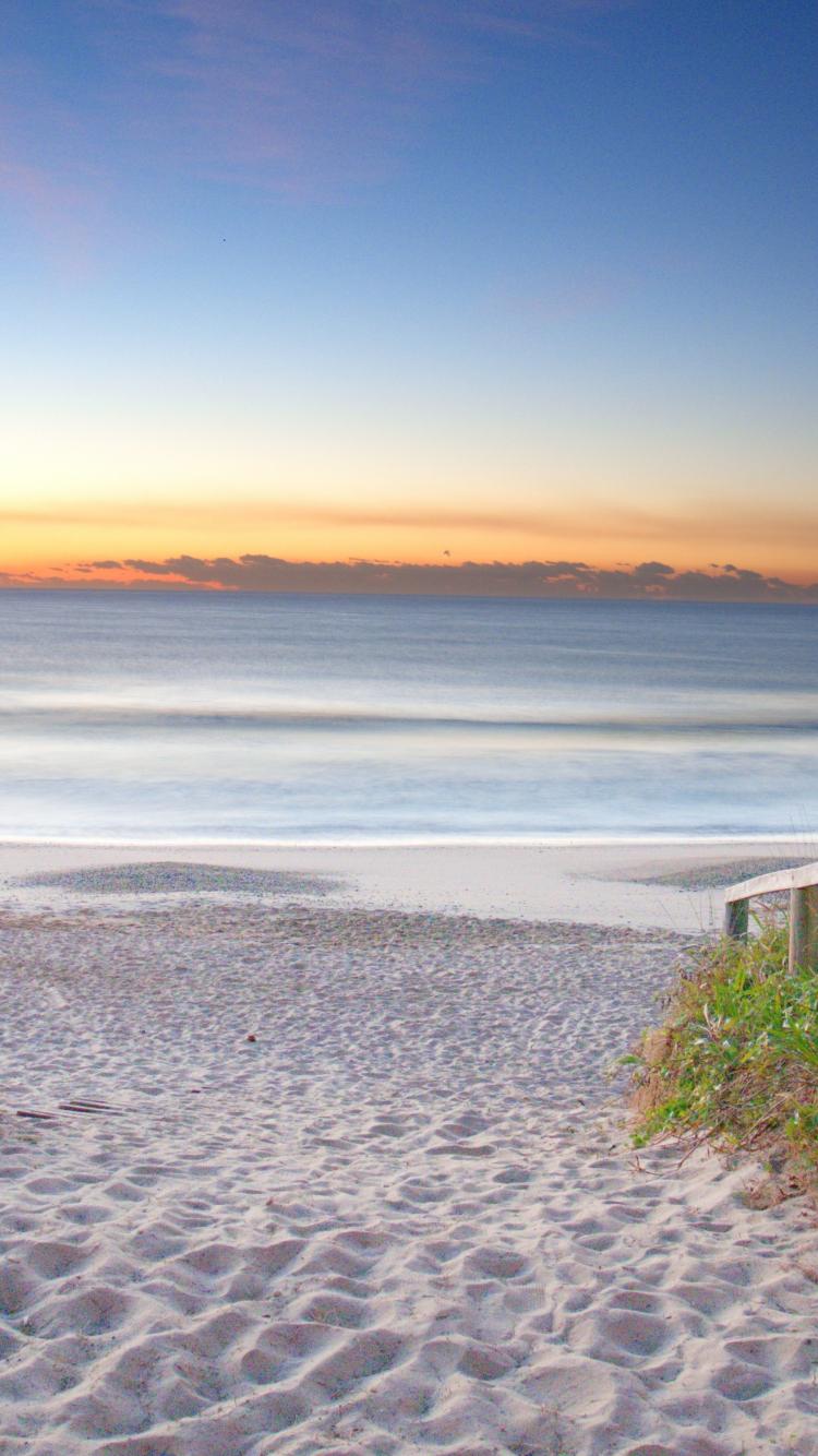 Download 750x1334 Wallpaper Sand Beach Sunrise Sky