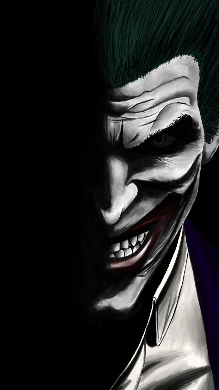 Download 750x1334 wallpaper joker, dark, dc comics, villain, artwork