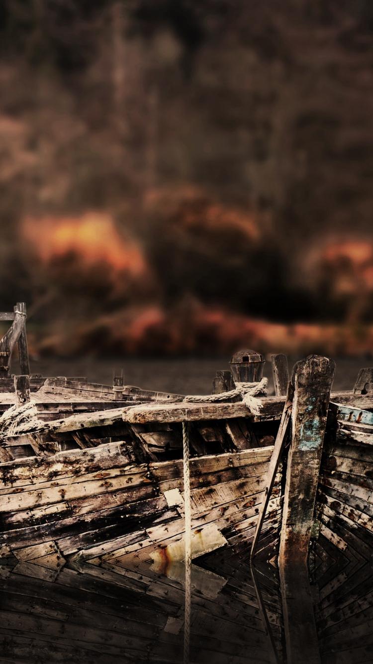 Download 750x1334 Wallpaper Vintage Old Boat Lake Iphone