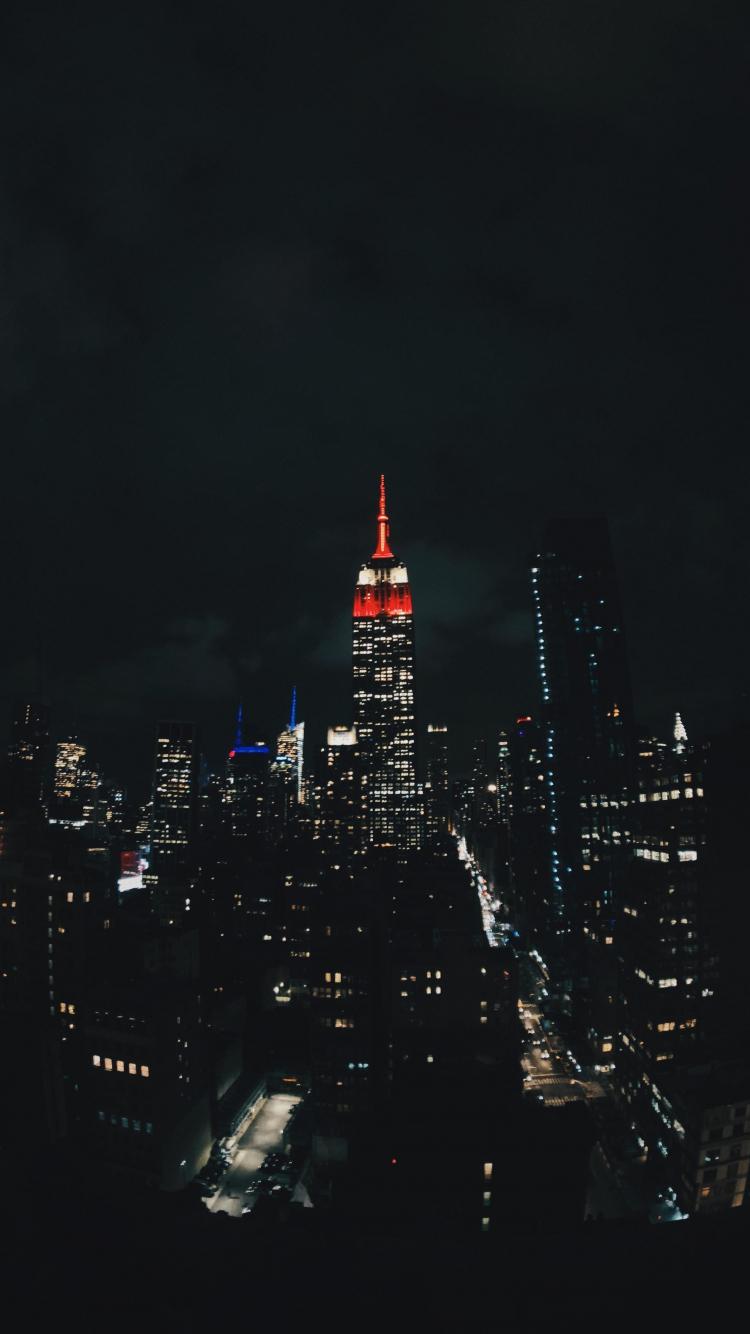 Download 750x1334 Wallpaper Night New York City Buildings Dark Iphone 7 Iphone 8 750x1334 Hd Image Background 17987