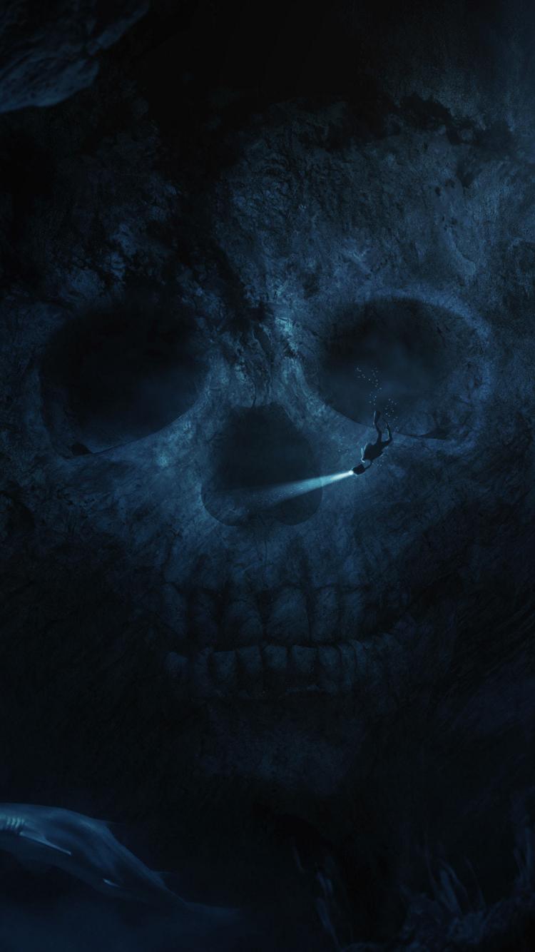 Download 750x1334 Wallpaper Skull Dark Underwater Dive