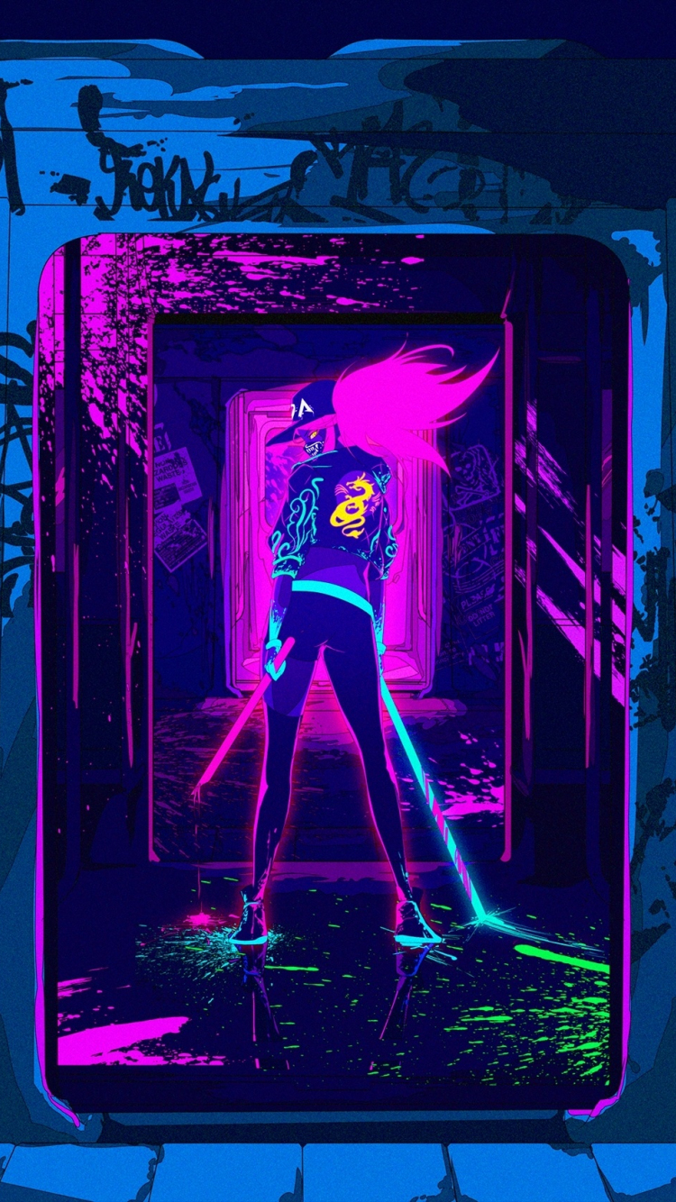 Download 750x1334 Wallpaper Artwork League Of Legends Akali Online Game Neon Iphone 7 Iphone 8 750x1334 Hd Image Background 18317