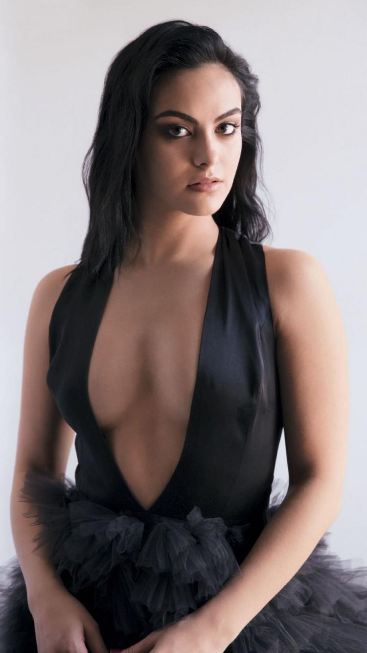 download 750x1334 wallpaper hot, actress, black dress, camila mendes