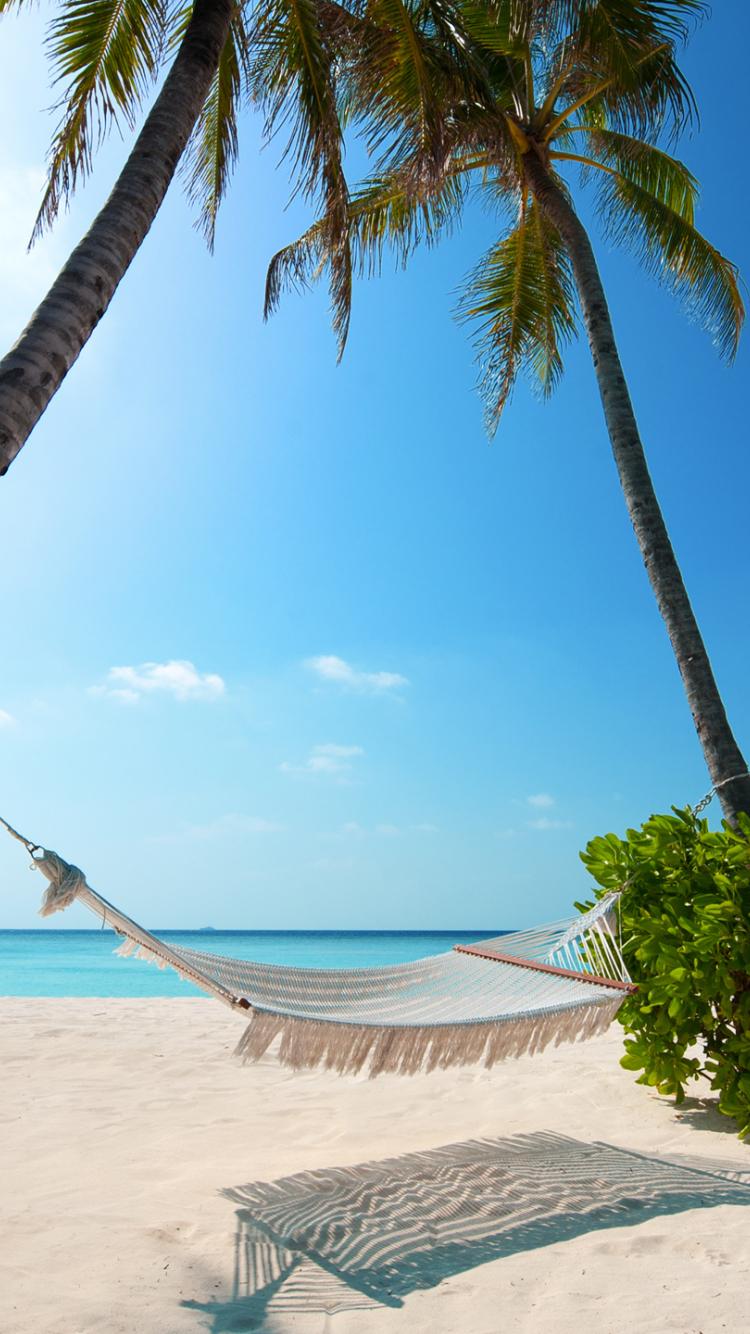Download 750x1334 Wallpaper Beach Holiday Summer Palm