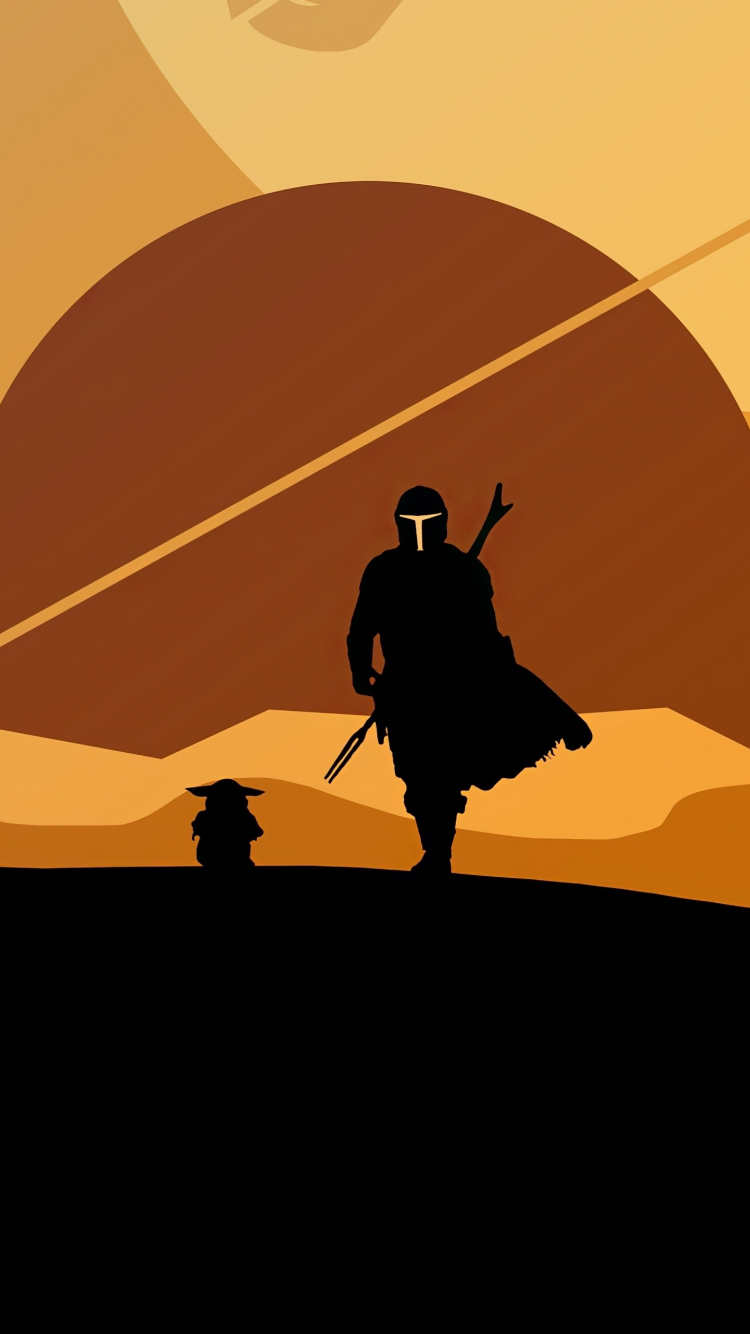 Download 750x1334 Wallpaper 2020 The Mandalorian And Yoda Minimal Silhouette Artwork Iphone 7 Iphone 8 750x1334 Hd Image Background 24513