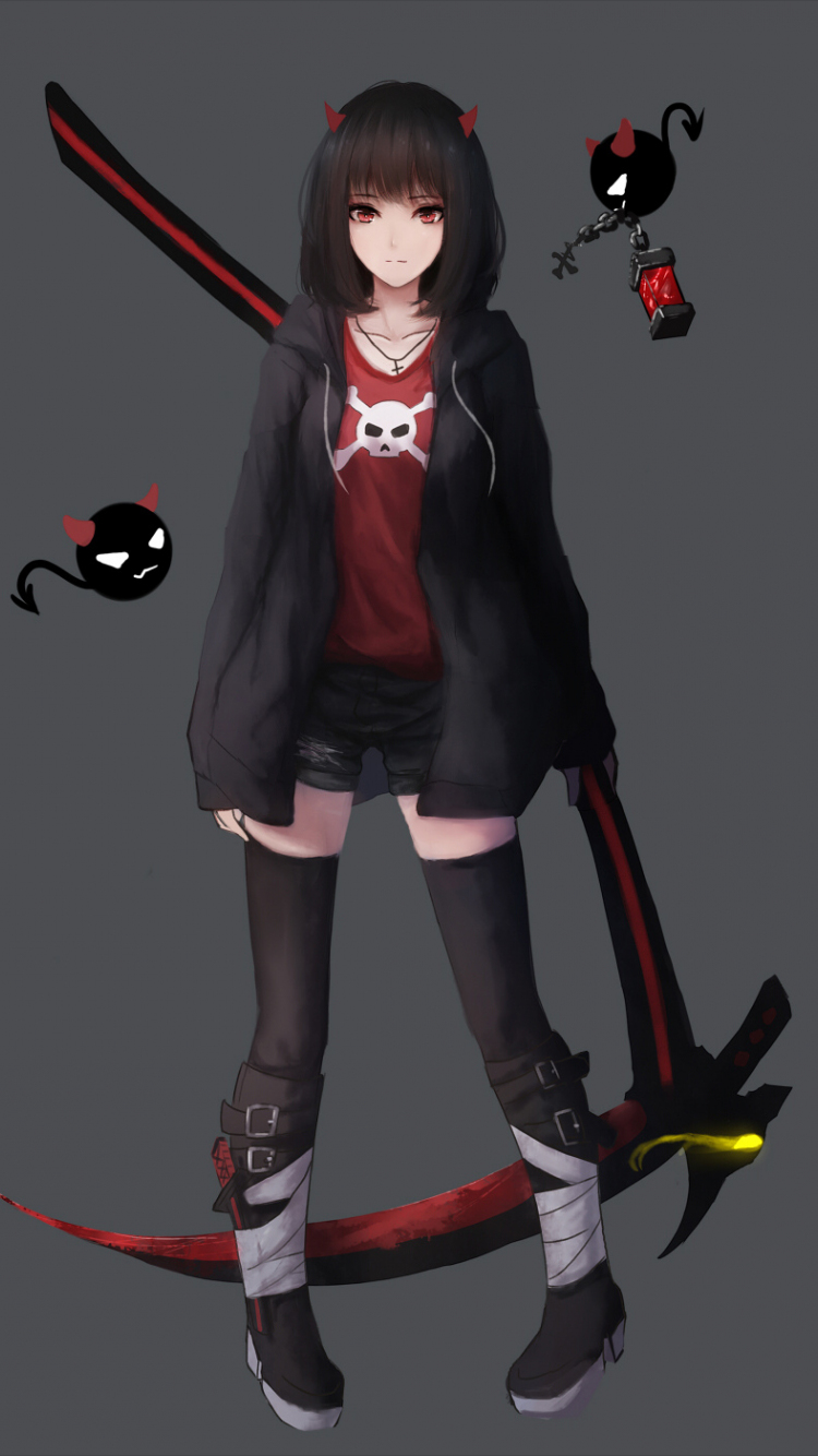 Download 750x1334 Wallpaper Minimal Anime Girl Red Eyes Iphone 7 Iphone 8 750x1334 Hd Image Background 3987