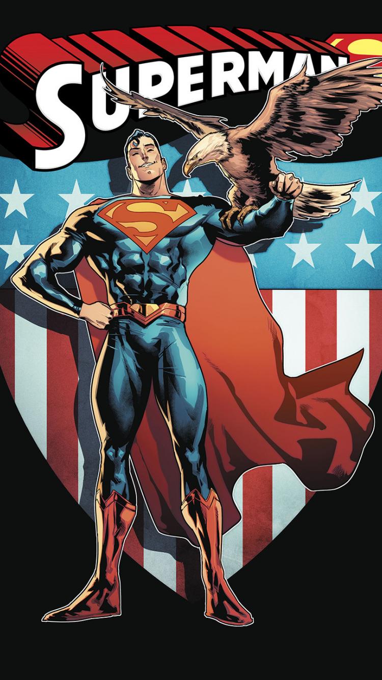Minimal Superman Superhero Comics 750x1334 Wallpaper