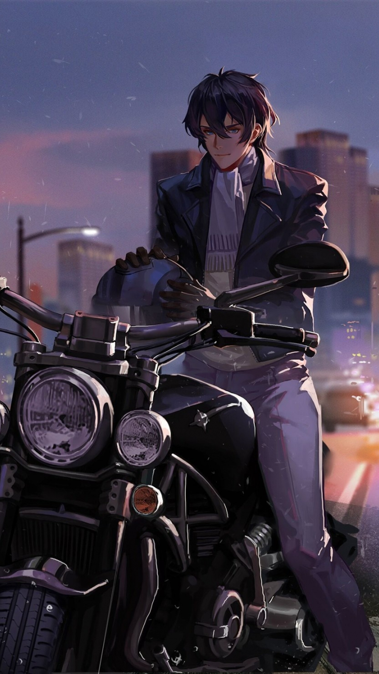 Download 750x1334 Wallpaper Man On Bike Rider Artwork