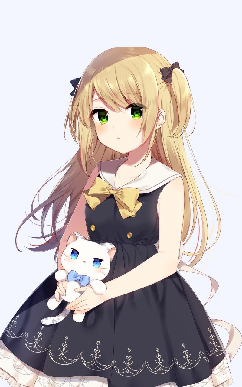 Cute anime girl and her kitten original 800x1280 wallpaper