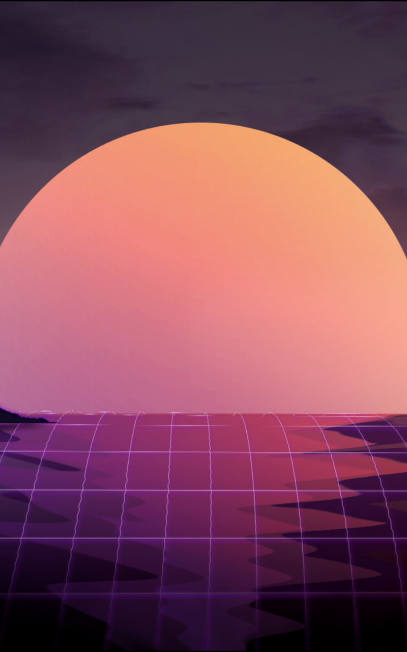Download 800x1280 wallpaper sunset, abstract, retrowave