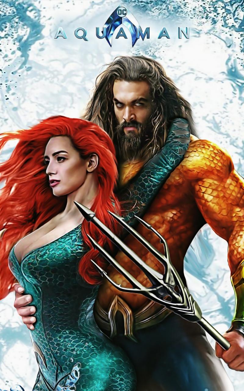 Download 800x1280 Wallpaper Aquaman Amber Heard Jason Momoa Art