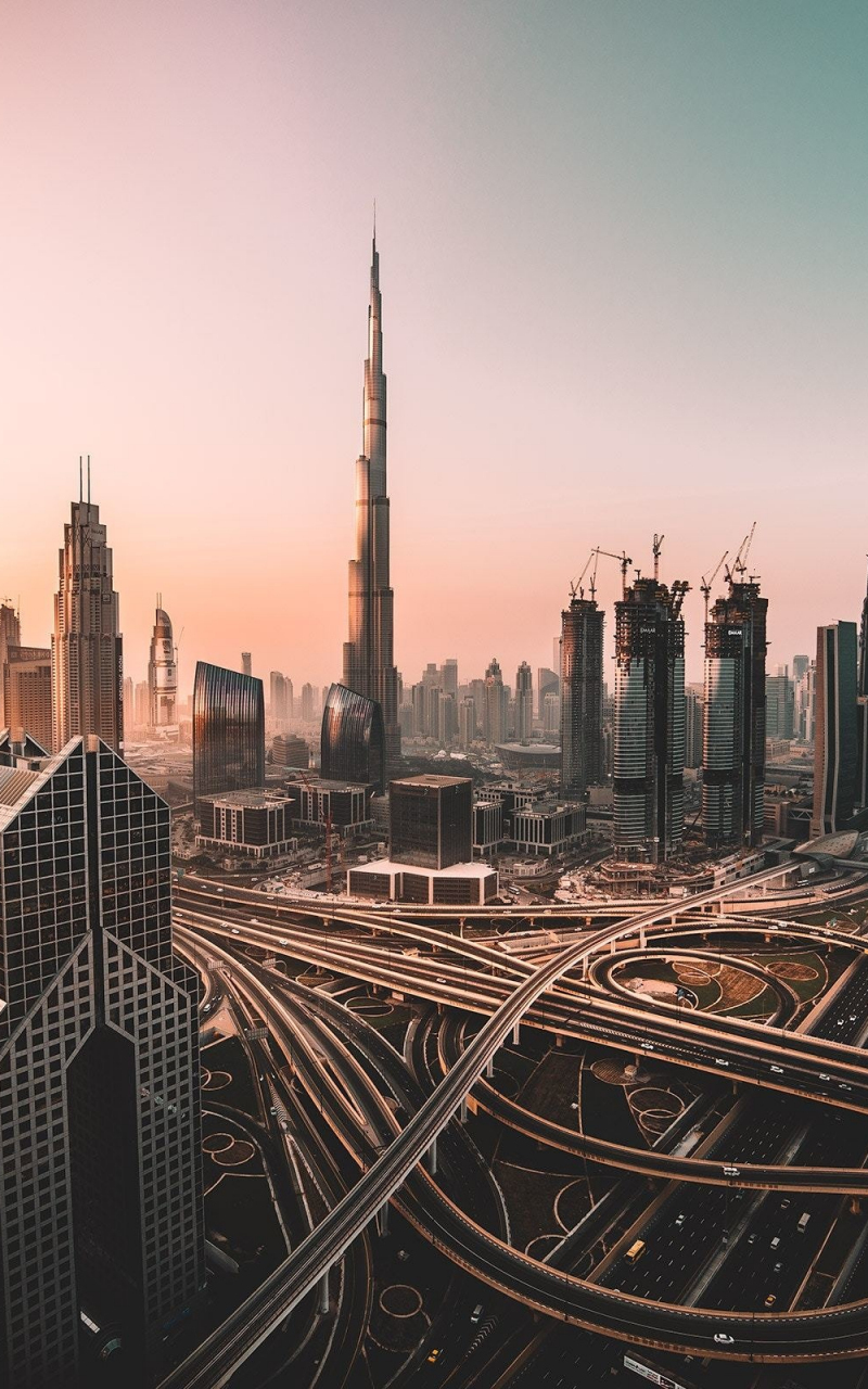 Dubai, skyline, cityscape, skyscrapers, buildings, Burj Khalifa, city, 800x1280 wallpaper