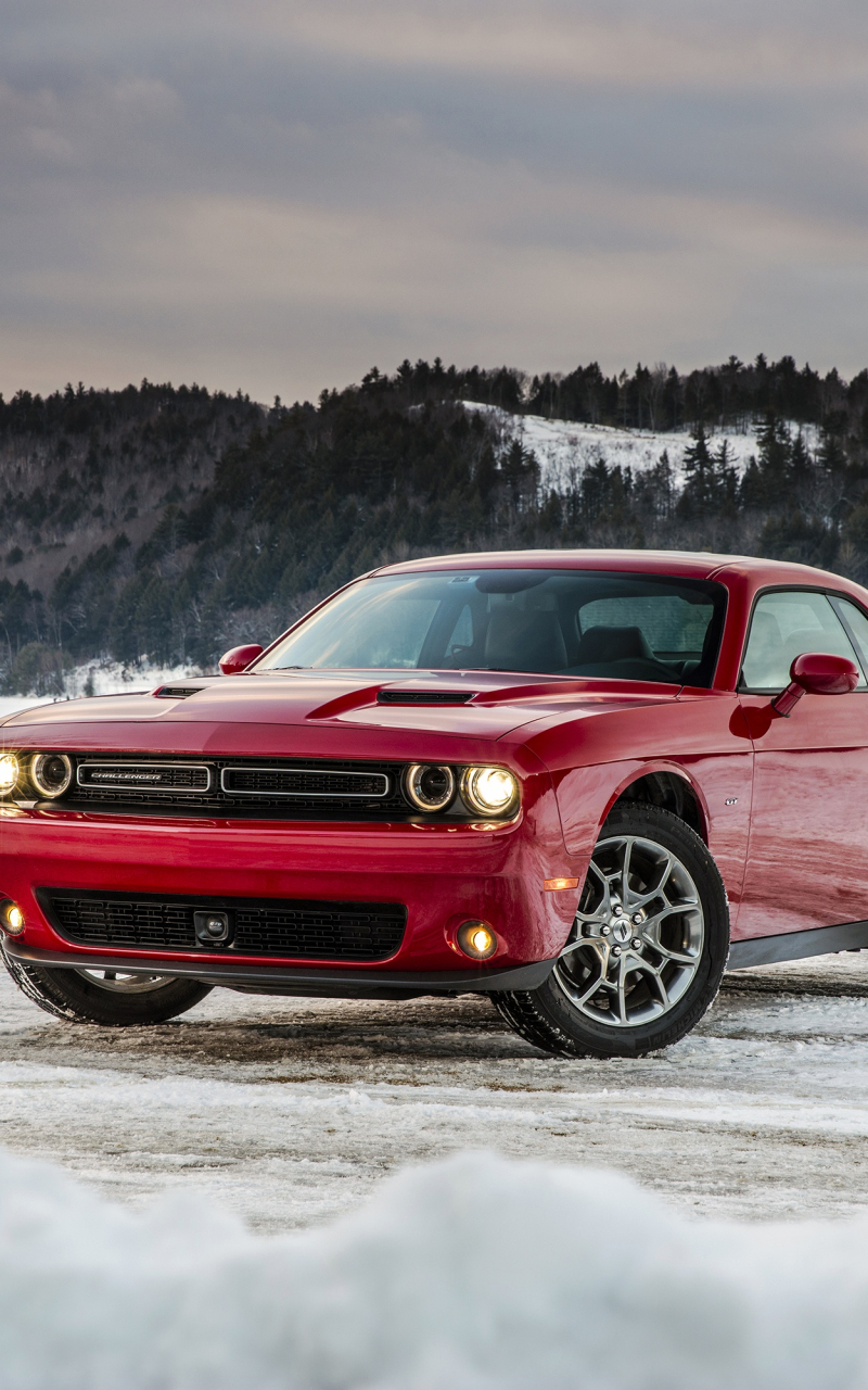 Dodge challenger, red muscle car, 800x1280 wallpaper