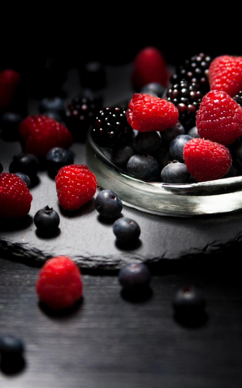 Dark mood, food, fruits, Raspberry, blueberry, Blackberry, 800x1280 wallpaper