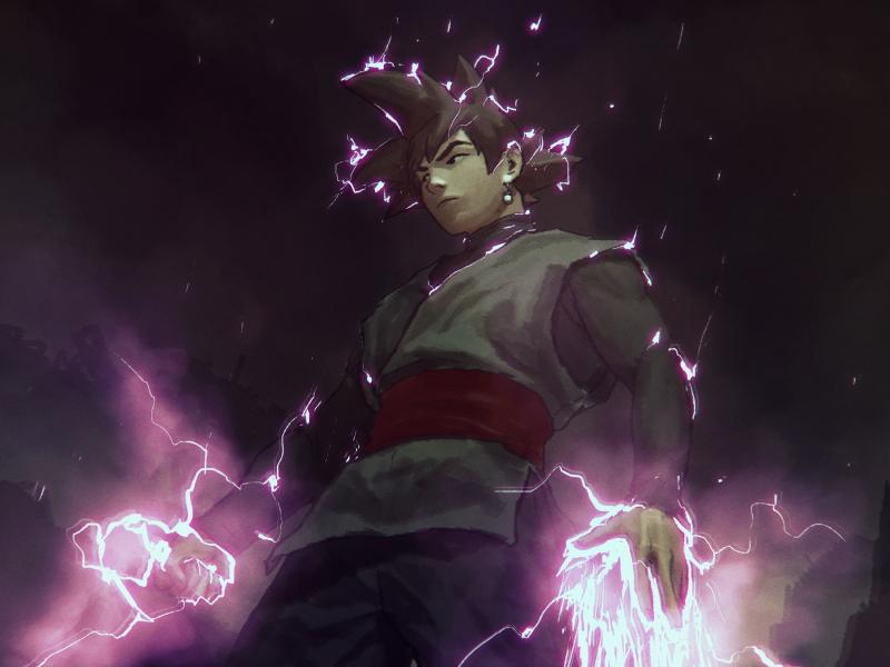 Download 800x600 Wallpaper Black Goku Anime Boy Art