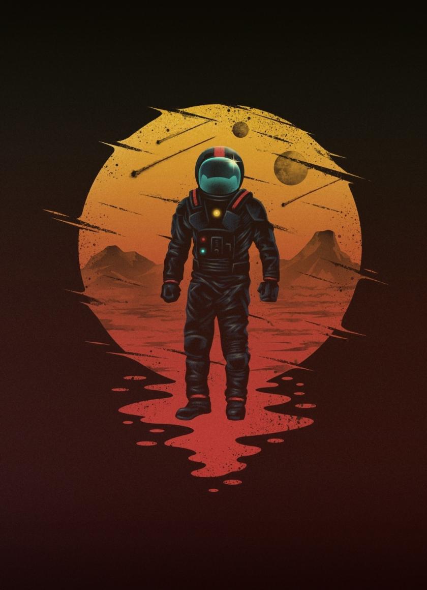 minimal astronaut art