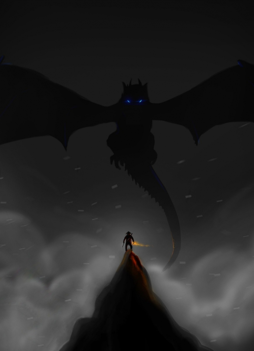 Download 840x1160 Wallpaper Dark Dragon And Warrior The Elder