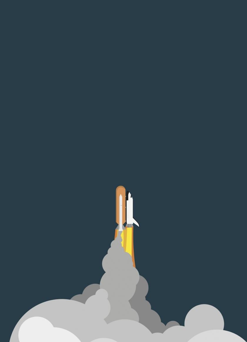 Download 840x1160 wallpaper minimalist, space, rocket ...