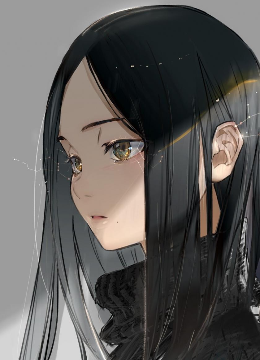 Download 840x1160 Wallpaper Original Black Hair Anime Girl Cute