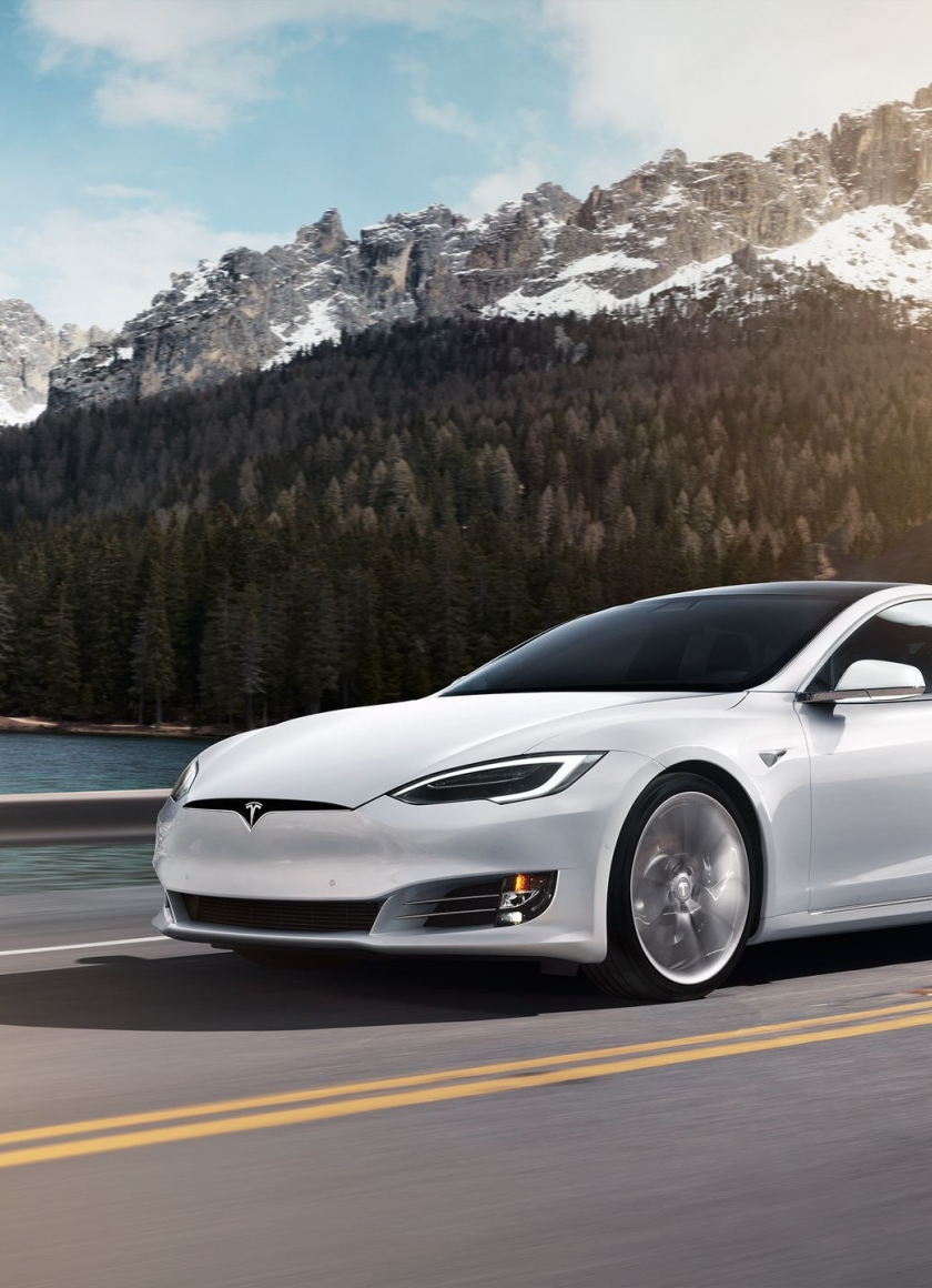 Download 840x1160 Wallpaper White Sedan Tesla Model 3