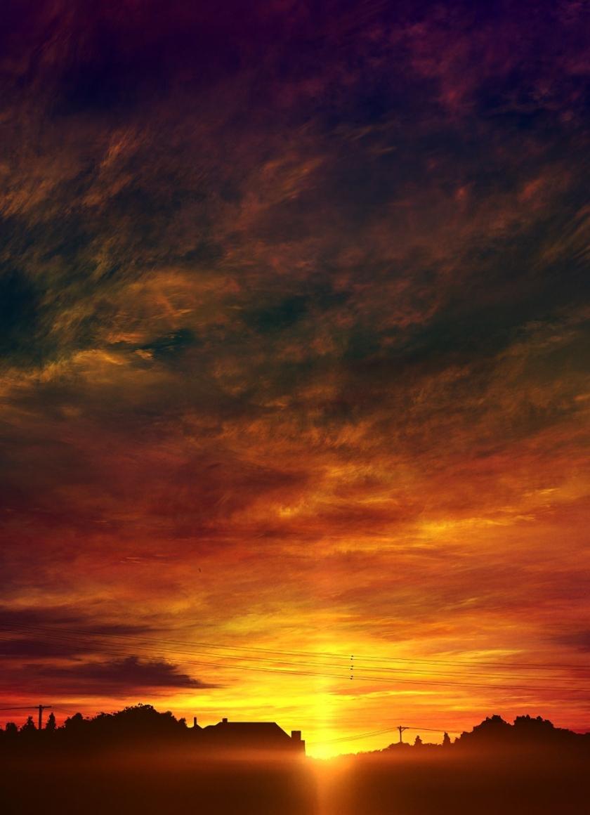 Download 840x1160 Wallpaper Original Anime Sunset Sky