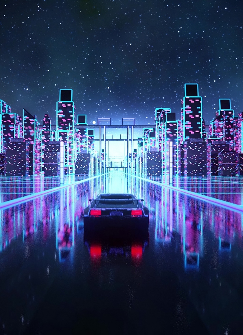 Download 840x1160 Wallpaper Cyberpunk Outrun Vaporwave Car On Road Art Iphone 4 Iphone 4s Ipod Touch 840x1160 Hd Image Background 24495