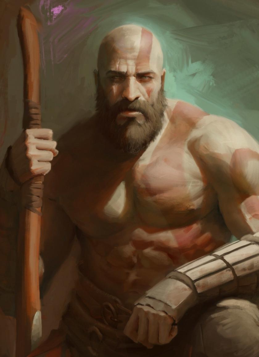 Download 840x1160 Wallpaper Handsome Kratos God Of War