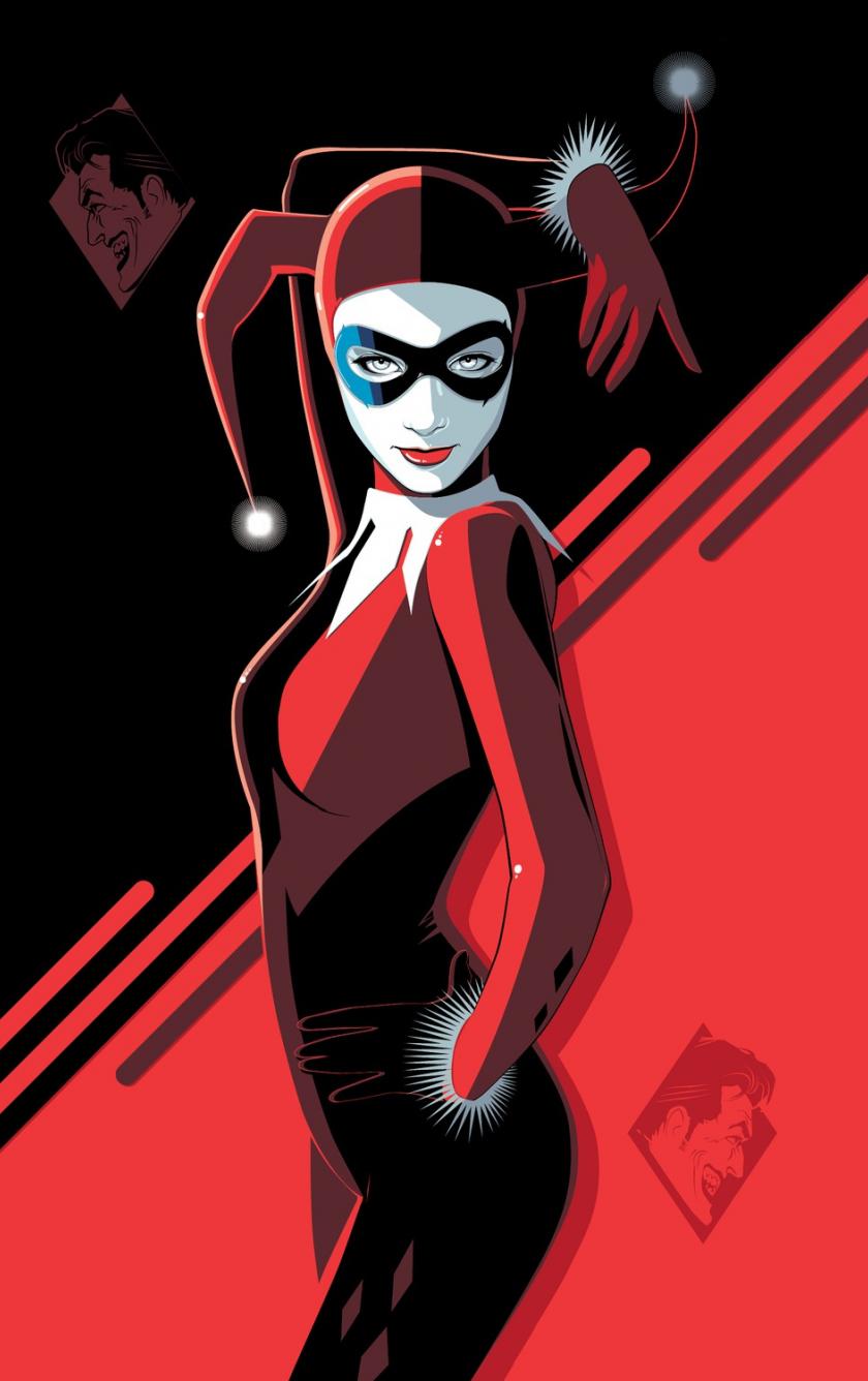 Harley Quinn, minimal, villain, minimal, art, 840x1336 wallpaper