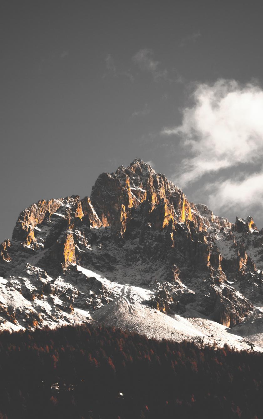 Mountain cliffs, nature, sky, clouds, tree, 840x1336 wallpaper